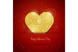 Vector Happy Valentine's Day greeting card with sparkling glitter gold textured heart on red background