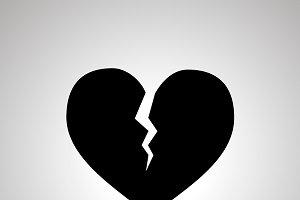 Broken heart simple black icon