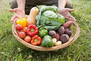 Farmer carrying basket of veg