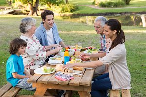 Extended family having an outdoor lunch