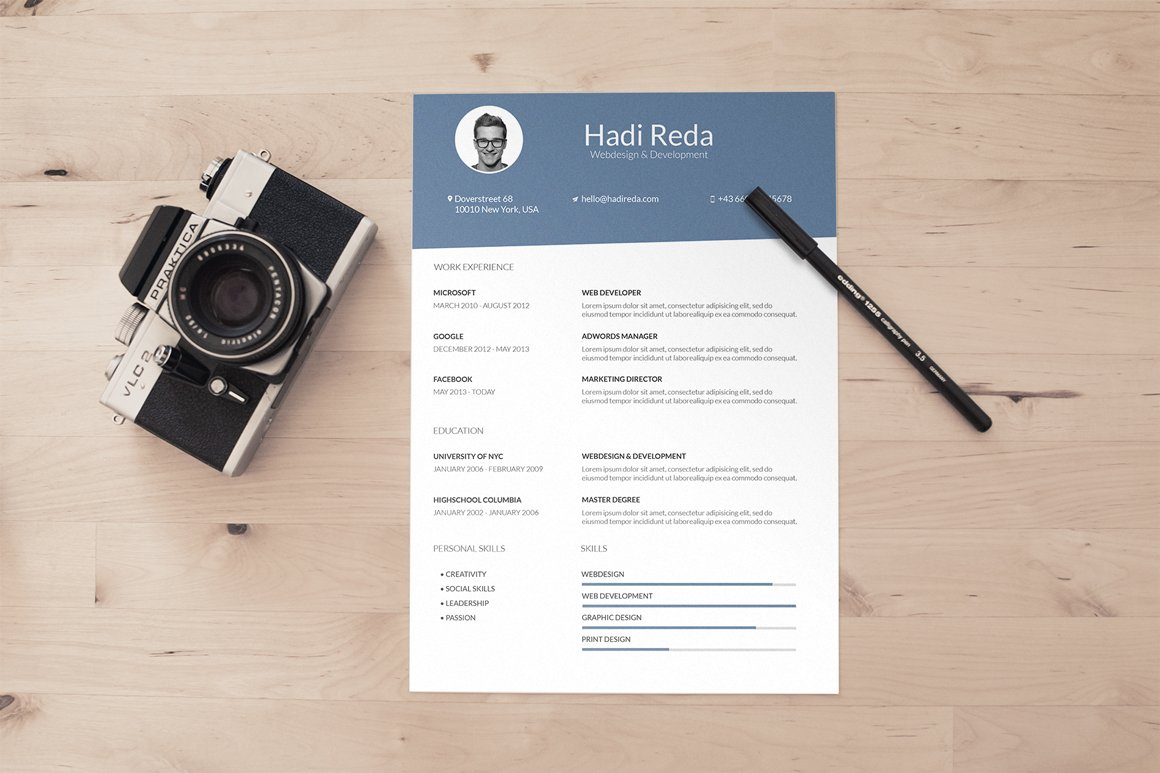 A4 Curriculum Vitae Resume Template Templates Creative Market
