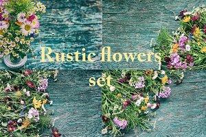 Rustic flowers set