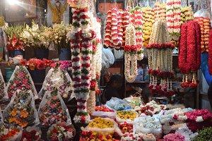 Flower guirlands on an indian market