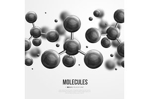 Molecular structure with black spherical particles
