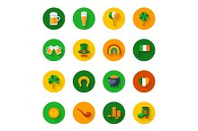 Set Of St. Patrick's Day Flat Icons in Circles
