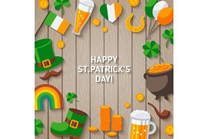 Patrick Day Wooden Background with Irish Icons.