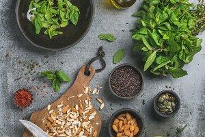 Healthy, vegan cooking ingredients