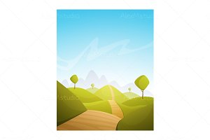 Countryside Cartoon Landscape