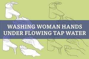 Washing hands under water