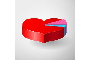 Valentines Day infographics with heart diagram