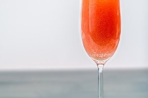 Glass of bellini cocktail