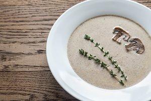 Portion of creamy mushroom soup