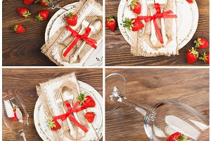 Collage: Tableware and silverware with red strawberries