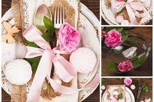 Tableware and silverware with roses, sweets and decorations