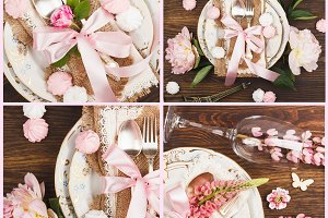 Tableware and silverware with flowers, sweets and decorations