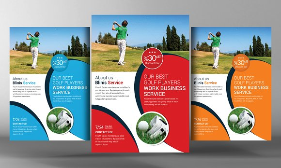 golf club flyer template flyer templates creative market. Black Bedroom Furniture Sets. Home Design Ideas