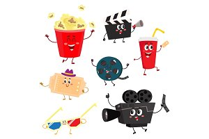 Cute and funny cinema, movie characters, symbols, icons
