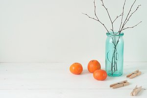 CLEAN! Tangerines and vase