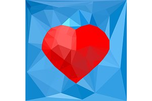 Red heart on blue. Polygonal