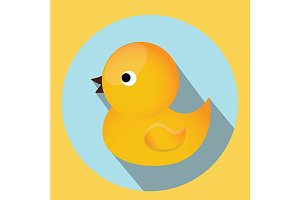 Baby bath rubber duck toy icon
