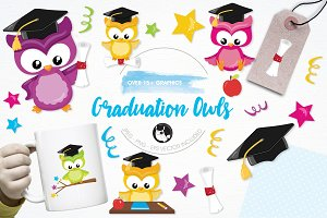 Graduation owl illustration pack
