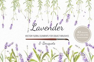 Vector object brushes. Lavender