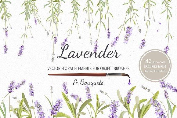 Vector object brushes. Lavender