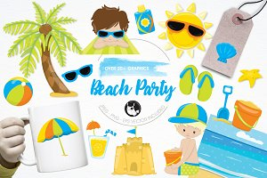 Beach party illustration pack