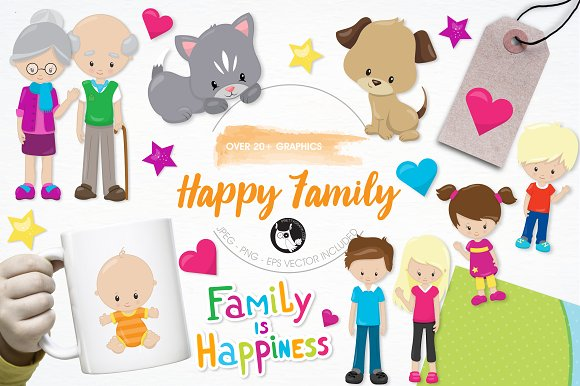 Happy family illustration pack