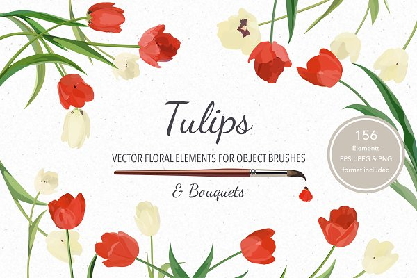 Vector object brushes. Tulips.