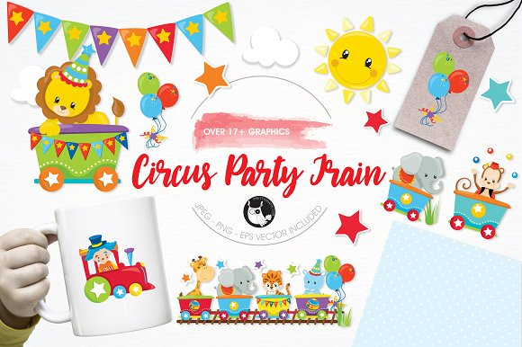 Circus party train illustration pack