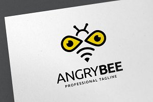 Angry Bee Logo Template