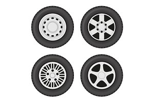 Wheel Disks or Rims Icon Set