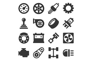 Car Parts Icons Set and Backgrounds