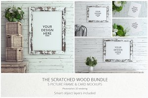 Scratched Wood MockUp Bundle