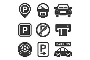 Car parking icons and signs set