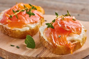 delicious sandwich with smoked salmon