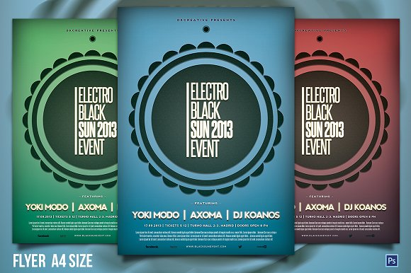 Electro Black Sun Event Flyer Flyer Templates on Creative Market – Event Flyer