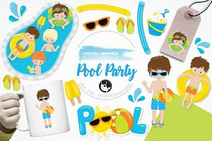 Pool party illustration pack