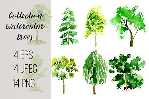№30 Collection trees watercolor
