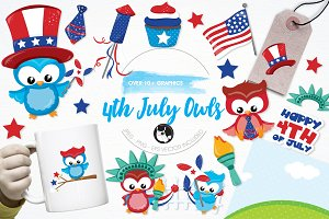 4th of July owls illustration pack