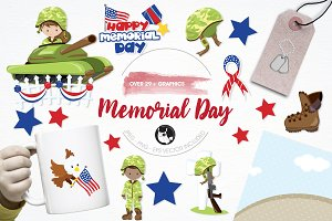 Memorial day illustration pack