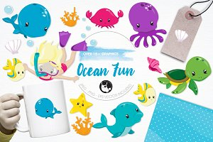 Ocean fun illustration pack