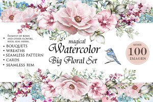 Watercolor floral design set. Flower