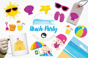 Beach party babies illustration pack