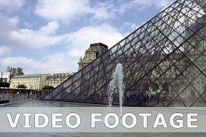 Fountain near Louvre glass pyramid