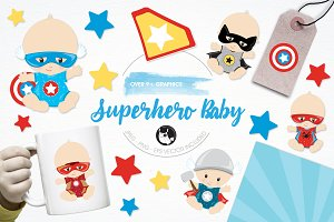 Superhero babies illustration pack