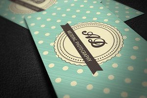 Retro Business Card with Polka Dots