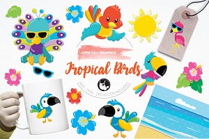 Tropical birds illustration pack