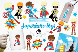 Superhero boys illustration pack